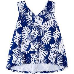 Plus Tropical Leaf V-Neck Pajama Top