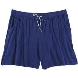 Plus Solid Pocketed Pajama Shorts