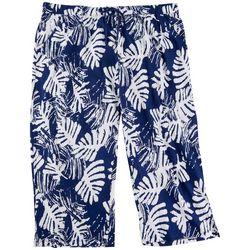 Coral Bay Plus Tropical LEaf Impression Pajama Capri Pants