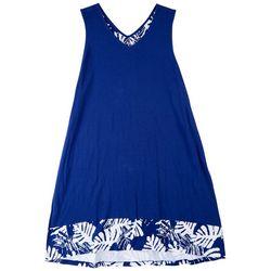 Coral Bay Plus Colorblock Tropical Contrast Midi Nightgown