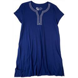 Plus Emroidered Notch Neckline Midi Nightgown