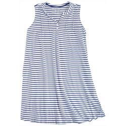 Plus Striped Sleeveless Henley Nightgown