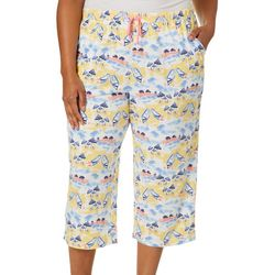 Coral Bay Plus Beach Scene Print Capri Pajama Pants