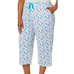 Coral Bay Plus Sailboat Print Capri Pajama Pants