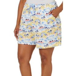 Coral Bay Plus Beach Scene Pajama Shorts