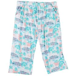 Coral Bay Plus Paradise Print Pajama Capri Pants