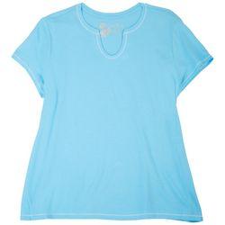 Coral Bay Plus Solid Split Neck Pajama Top
