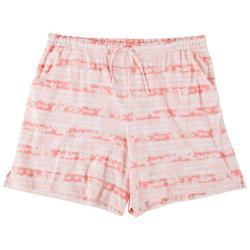 Plus Flamingo Stripe Pajama Shorts