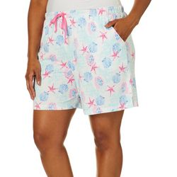 Coral Bay Plus Sea Print Pajama Shorts