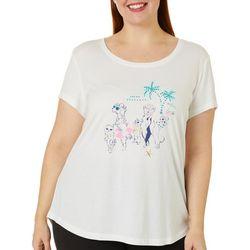 Plus Beach Dogs Short Sleeve Pajama Top
