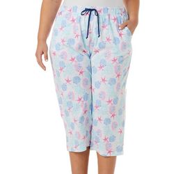 Coral Bay Plus Seashell Print Capri Pajama Pants