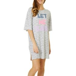 Derek Heart Juniors Let Me Sleep  Striped Sleep Shirt