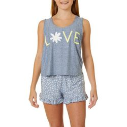 Derek Heart Juniors Love Daisy Pajama Shorts Set
