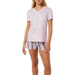 Wallflower Juniors I'm Not Getting Dressed Pajama Shorts Set