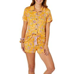 Wallflower Juniors Floral Boxer Pajama Shorts Set