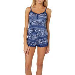 Wurl Juniors Geometric Print Lace Trim Pajama Shorts Set
