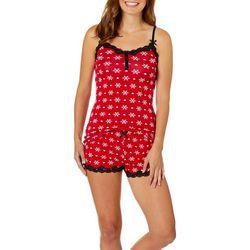 Wurl Juniors Snowflake Print Lace Trim Pajama Shorts Set