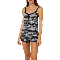 Wurl Juniors Fair Isle Print Lace Trim Pajama Shorts Set
