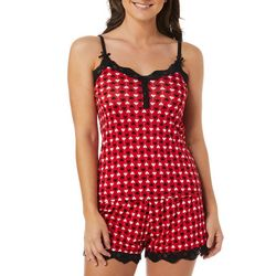 Wurl Juniors Hearts Print Lace Trim Pajama Shorts Set