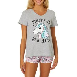 Wurl Juniors Unicorns Do It Better Pajama Shorts Set