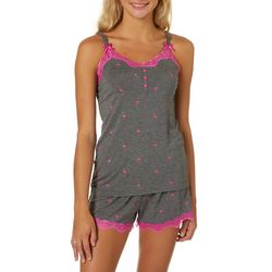 Wurl Juniors Flamingo Lace Trim Pajama Shorts Set