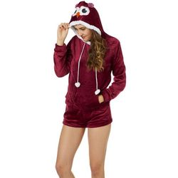 Em & Alfie Juniors Owl Face Hoodie & Pajama Shorts Set