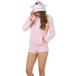 Em & Alfie Juniors Snow Bunny Hoodie & Pajama Shorts Set