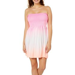 Wurl Juniors Ombre Smoke Smocked Strapless Nightgown