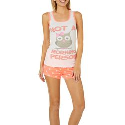 Not A Morning Person Juniors Owl Pajama Shorts Set
