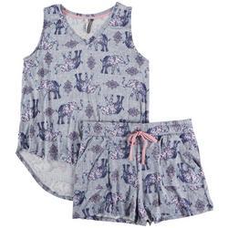Womens Elephant Sleveless Pajama Shorts Set