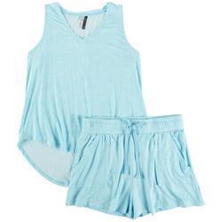 Womens Thatched Sleveless Pajama Shorts Set