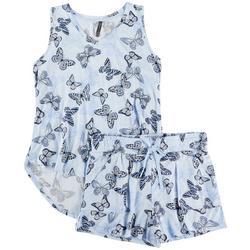 Womens Butterfly Pajama Shorts Set