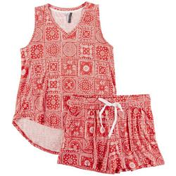 Womens Patchwork Print Pajama Shorts Set