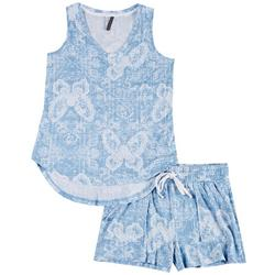 Paisley Butterfly Print Shorts Set