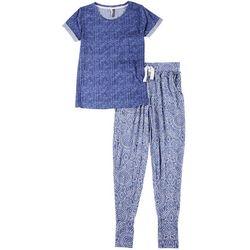 Jaclyn Intimates Womens Scarf Print Pajama Jogger Set