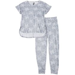 Womens Thatched Butterfly Pajama Jogger Set