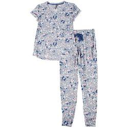 Jaclyn Intimates Womens Floral Print Pajama Jogger Set