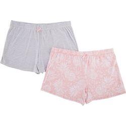 Jaclyn Intimates Womens Yummy 2-Pc Printed Pajama Shorts