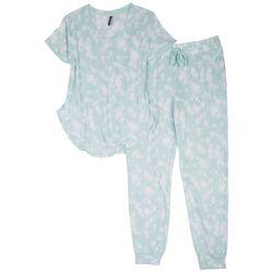 Jaclyn Intimates Womens Tie Dye Stripe Pajama Jogger Set