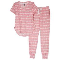 Jaclyn Intimates Womens Tie-Dye Stripe Pajama Jogger Set