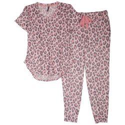 Jaclyn Intimates Womens Pink Leopard Print Pajama Jogger Set