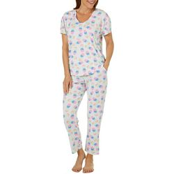 Jaclyn Intimates Womens Rainbow Pineapple Capris Pajama Set