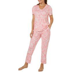 Jaclyn Intimates Womens Paisley Seashell Capris Pajama Set