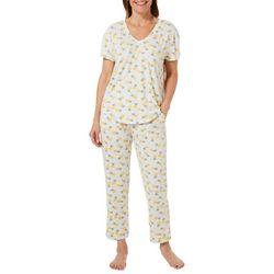 Jaclyn Intimates Womens Pineapple Print Pajama Capris Set