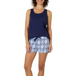 Jaclyn Intimates Womens Scroll Print Pajama Shorts Set