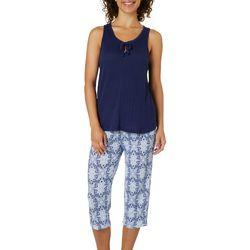 Jaclyn Intimates Womens Scroll Print Capris Pajama Set