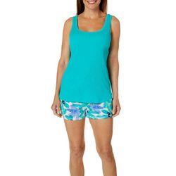 Jaclyn Intimates Womens Palm Print Pajama Shorts Set