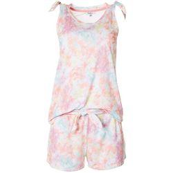 Womens Tie Dye Pajama Shorts Set