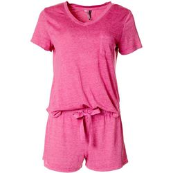 Jaclyn Intimates Womens Heathered Pajama Shorts Set