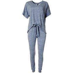 Jaclyn Intimates Womens Thatched Print Pajama Jogger Set